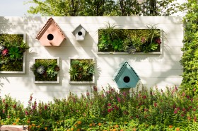 Decorated wall vertical garden idea in the city Background.