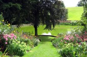 Pool. Garden. Flowers.Trees.Beautiful.Calm